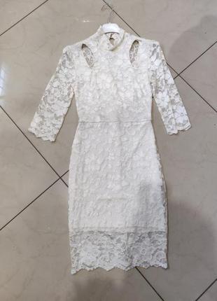 👑♥️final sale 2019 ♥️👑  кремовое кружевное миди платье с рукавом и вырезами