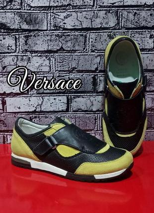 Кожаные кроссовки versace оригинал