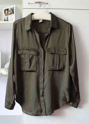 Темно зеленая хаки рубашка от h&m