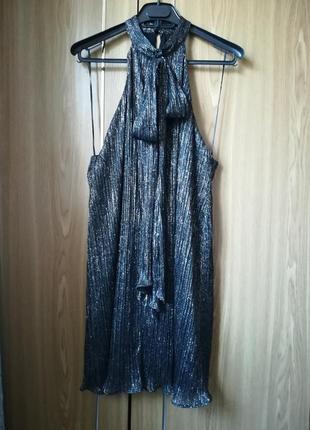 Платье zara мини с чокером и бантом на шее