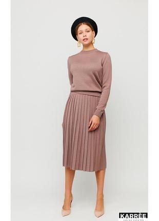 Костюм трикотаж шерсть юбка свитер плиссе
