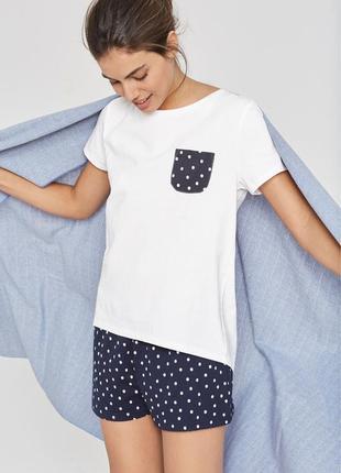 Бело-синяя пижама next в горошек