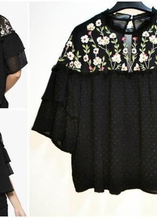 Стильная воздушная черная блуза с вышивкой цветы