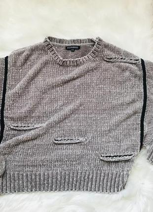 Велюровый фирменный свитер