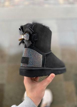 Ugg bailey bow! женские замшевые зимние угги/ сапоги/ ботинки/ луноходы 😍 {с мехом}