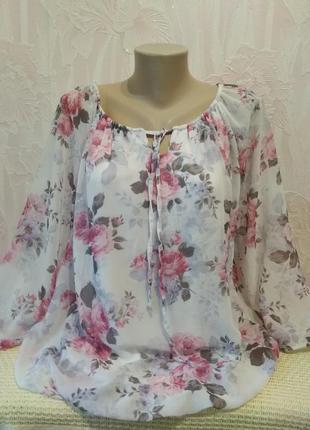 Шифоновая блуза на трикотажной основе италия