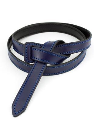 Женский кожаный ремень-узел без пряжки kb-k20 blue (2 см)