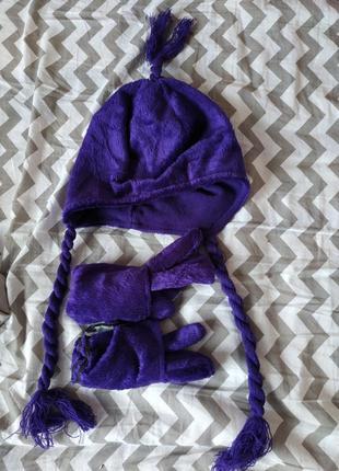Комплект перчатки + шапка с кисточками