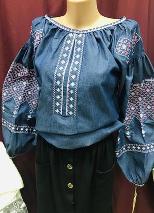 Стильна блуза бохо з вишивкою вишиванка пишний рукав вышиванка