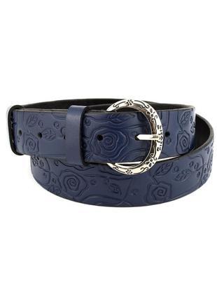 Женский кожаный ремень джинсовый jk-3510 blue (3,5 см)