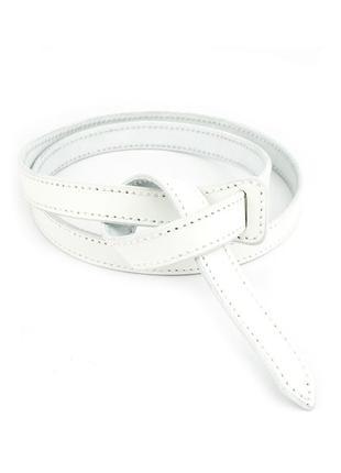 Женский кожаный ремень-узел без пряжки kb-k20 white (2 см)
