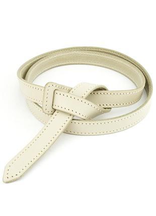 Женский кожаный ремень-узел без пряжки kb-k20 cream (2 см)