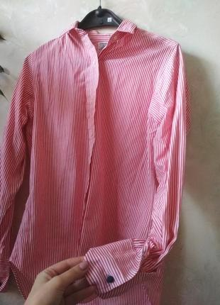 Полосатая котоновая красная рубашка блуза с крутыми запонками