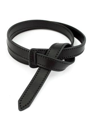Женский кожаный ремень-узел без пряжки kb-k20 black (2 см)