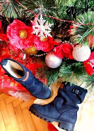 Ботинки черевики чоботи сині натуральний нубук selesta