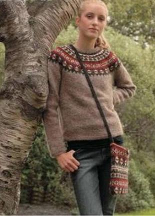 Шерстяной базовый серый джемпер свитер  узор фэр-айл круглая горловина c-girl