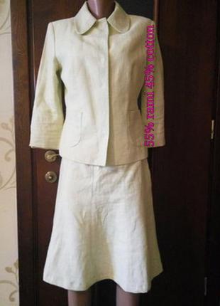 Zara . красивый костюм юбка пиджак под лен ( рами , хлопок )