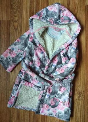 Мягкий теплый махровый халат на 2-3 года