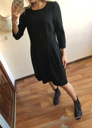 Брендовое чёрное платье клёш hallhuber