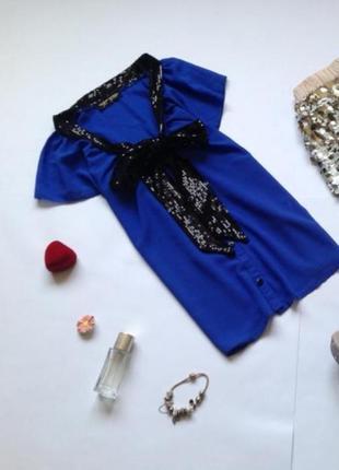 Шикарная блузка с бантом пайетками