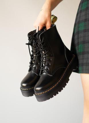 😊dr. martens jadon black fur🤗 женские зимние ботинки мартинс чёрные с мехом зима