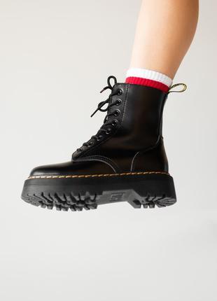 😊dr. martens jadon black fur🤗 женские зимние ботинки мартинс чёрные с мехом зима2 фото