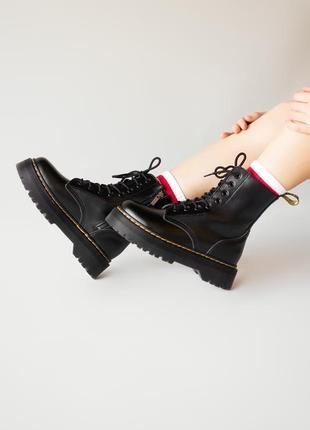 😊dr. martens jadon black fur🤗 женские зимние ботинки мартинс чёрные с мехом зима3 фото