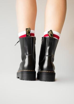 😊dr. martens jadon black fur🤗 женские зимние ботинки мартинс чёрные с мехом зима5 фото