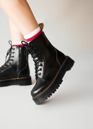😊dr. martens jadon black fur🤗 женские зимние ботинки мартинс чёрные с мехом зима6 фото