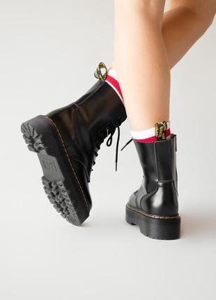 😊dr. martens jadon black fur🤗 женские зимние ботинки мартинс чёрные с мехом зима4 фото