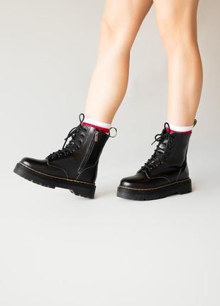 😊dr. martens jadon black fur🤗 женские зимние ботинки мартинс чёрные с мехом зима10 фото
