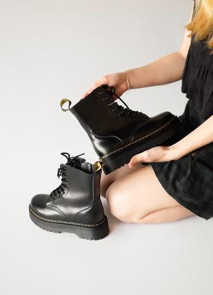 😊dr. martens jadon black fur🤗 женские зимние ботинки мартинс чёрные с мехом зима9 фото