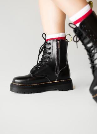 😊dr. martens jadon black fur🤗 женские зимние ботинки мартинс чёрные с мехом зима8 фото