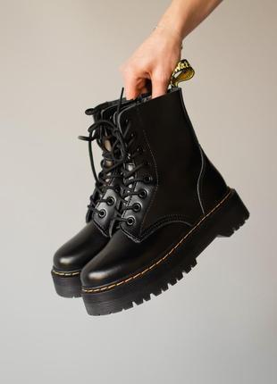 😊dr. martens jadon black fur🤗 женские зимние ботинки мартинс чёрные с мехом зима7 фото