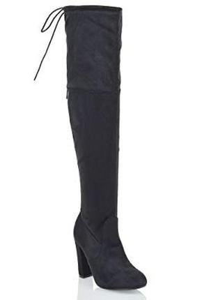 Черные замшевые высокие деми сапоги ботфорты за колено на высоком каблуке зимние