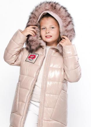 Трендовая лаковая зимняя куртка пуховик на девочку x-woyz