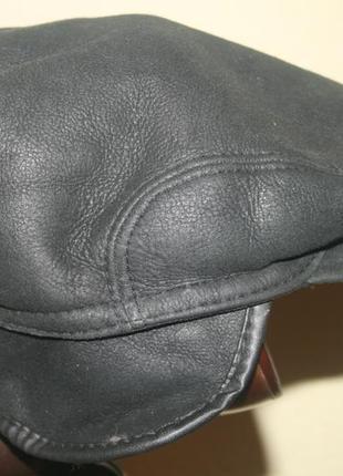 Итальянская мужская кожаная шапка- кепка с отворотом на овчине la piel italy