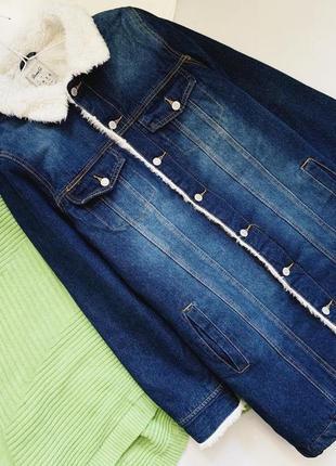 Джинсовая куртка на меху шерпа denim