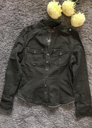 Осенняя куртка-рубашка цвета хаки