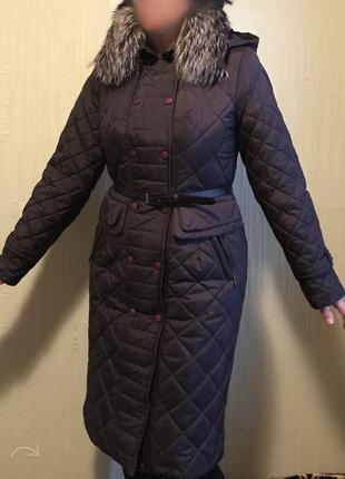 Теплое удлинённое зимнее пальто nui very, черничного цвета.