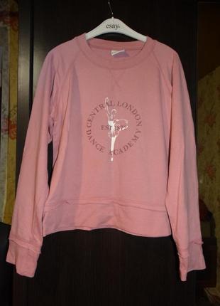 Теплый свитшот look розовый с принтом балерины