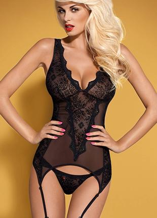 Emperita corset obsessive черный корсет и стринги женское белье