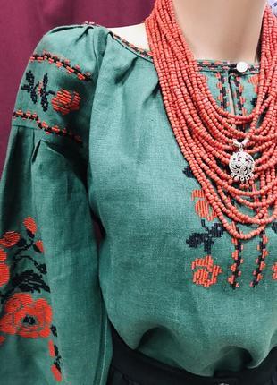 Шикарна льняна блуза бохо з вишивкою вишиванка пишний рукав вышиванка