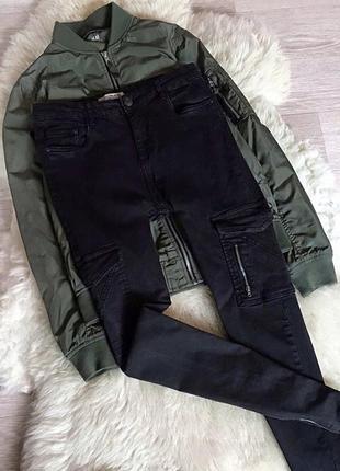 113 актуальные джинсы карго высокой посадки pull&bear