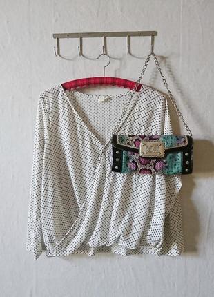Классическая белая блуза в горошек 🔸 бренд h&m