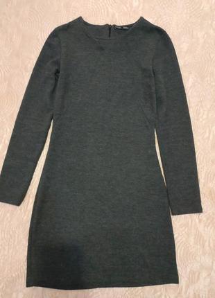 Серое облегающее теплое платье от zara