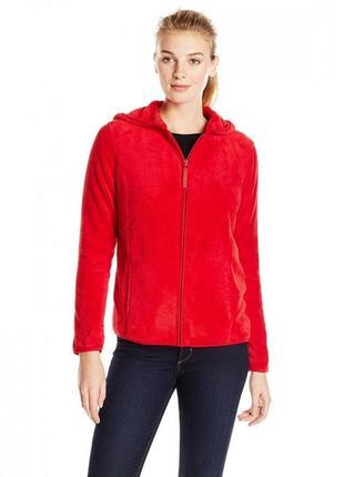 Брендовая красная флисовая кофта на молнии с карманами ewm большой размер
