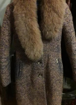 Теплое пальто с воротником, песец, kornev
