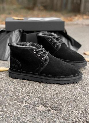 Шикарные мужские ботинки ugg в черном цвете с натур мехом (осень-зима-весна)😍