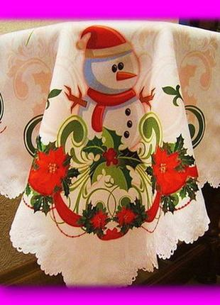 Новогодняя скатерть со снеговиком